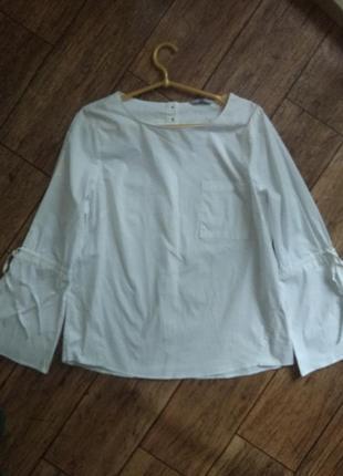 Белая рубашка блуза с контрастным пуговицами на спине от tu5 фото