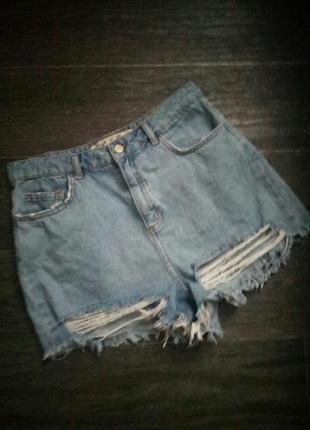 Стильные джинсовые шорты с высокой посадкой размер м