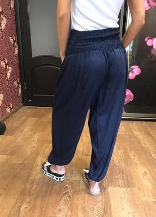 Стильные штаны брюки алладины свободного кроя с высокой посадкой