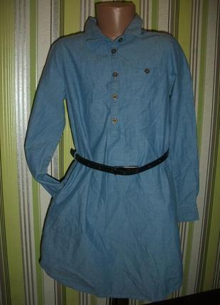 Легусенькое котоновое платье-рубашка на 9-10 лет h&m нм
