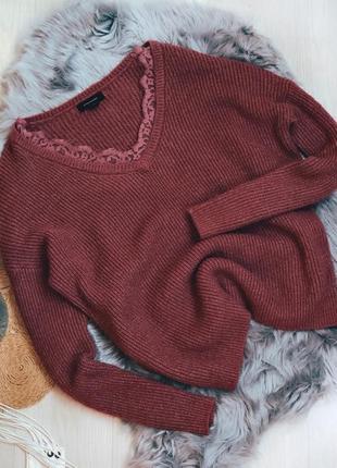 Свободный свитер вязанный с кружевом размер over size