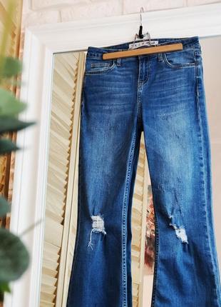 Denim co xs s размер джинсы на завышенной талии укороченные с необработанным краем синие