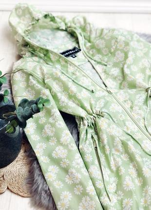 Дождевик плащ салатовый на молнии ромашки с капюшоном размер s