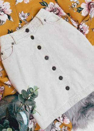 S размер бежевая вельветовая юбка на высокой талии с пуговицами спереди мини