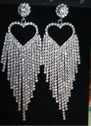 Серьги вечерние серебро сережки сердечко свадебные