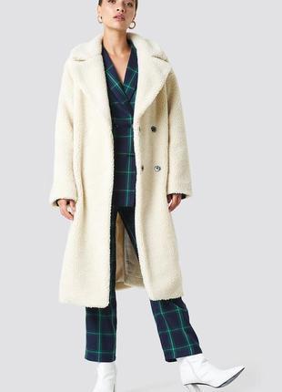 Шуба пальто оверсайз из искусственного меха na-kd teddy bear. оригинал