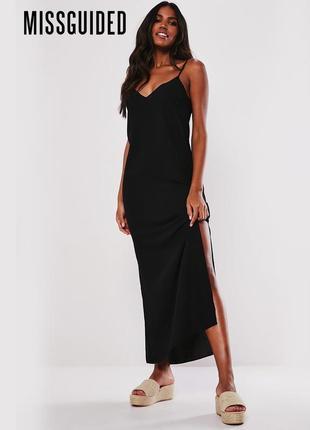 Новое черное платье в пол с разрезом по бокам missguided