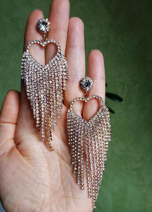 Серьги вечерние золото свадебные сережки сердечки