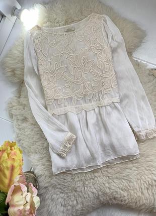 Итальянская шелковая шикарная блуза с кружевом