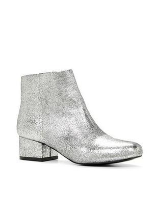 Стильные кожаные ботинки полусапоги цвета металик aldo