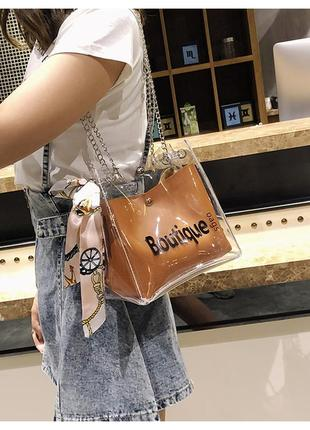 Женская прозрачная сумка мешок boutique с платком рыжая