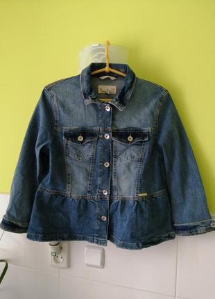 Джинсовая куртка пиджак с оборками tom tailor
