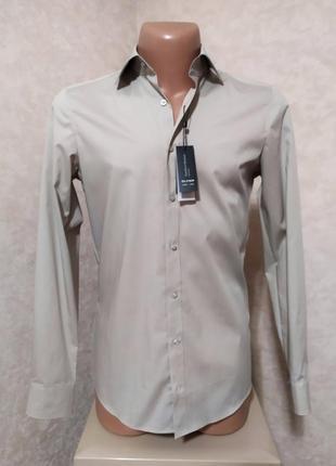 Новая мужская рубашка slim fit, серо-бежевый айвори цвет. olimp, s-m