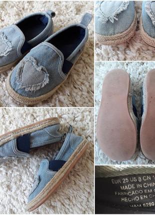 Класні джинсові балеточки-еспадрильки на дівчинку, 24-25р.