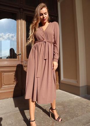 Платье женское из трикотажа рубчик на каждый день коричневое