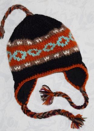 Теплая шапка на флисовой подкладке 100 % шерсть шапка с ушками