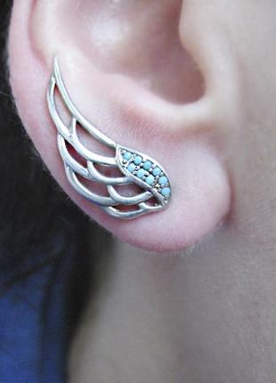 Ультрамодные серьги-каффы крылья ангела серебро 925