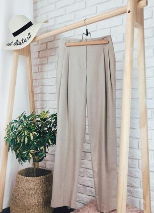 Zara s размер брюки классические бежевые бананы на завышенной талии
