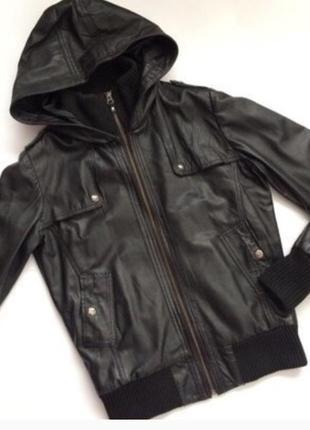 Mango casual sportswear кожаная куртка бомбер с капюшоном xs s