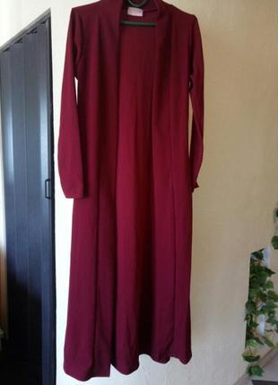 Цена временно снижена!трендовый цвет 《красная груша》длинный трикотажный жакет,кардиган