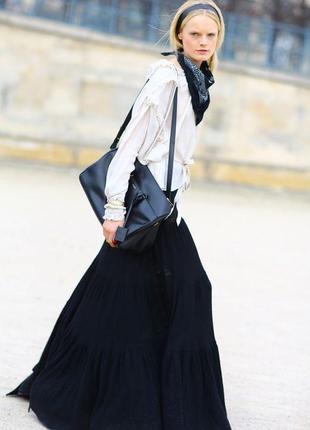 Длинная льняная юбка с оборками