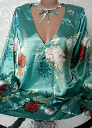 Берюзовая блуза с цветочным принтом,большой размер missguided