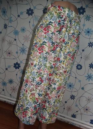 Эксклюзивные брюки капри кюлоты в цветочный принт h&m
