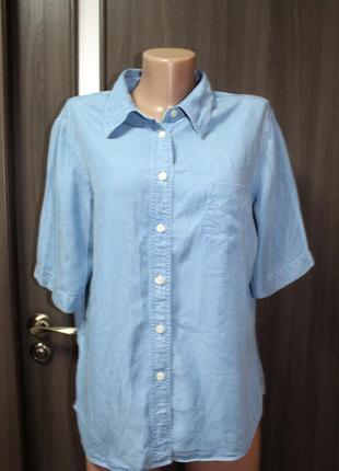 Джинсовая рубашка marks&spencer в идеальном состоянии 2хl
