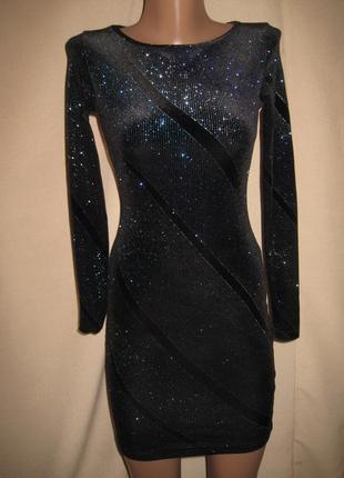 Велюровое платье  с  блестками topshop р-р6