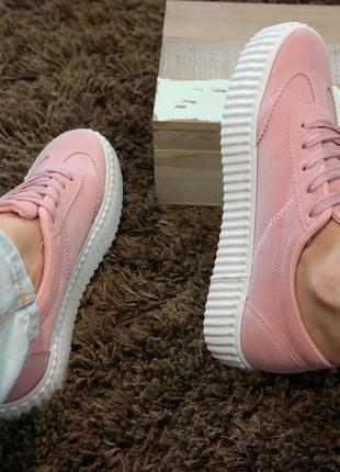 Женские кеды кроссовки светло розовые весенние летние, отличное качество