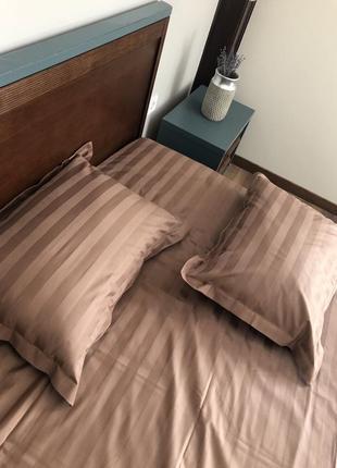 Комплект постельного белье сатин страйп шоколадный двуспальный на молнии