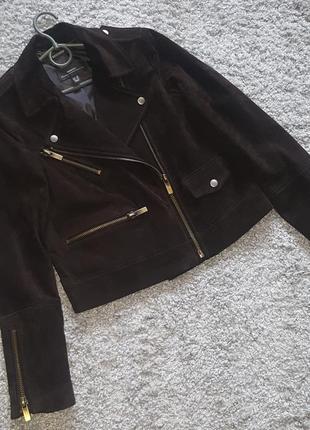 Оригинал.кожаная,фирменная,байкерская куртка-косуха mango