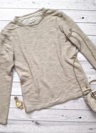 Винтажный песочный вязаный теплый свитер, бежевый