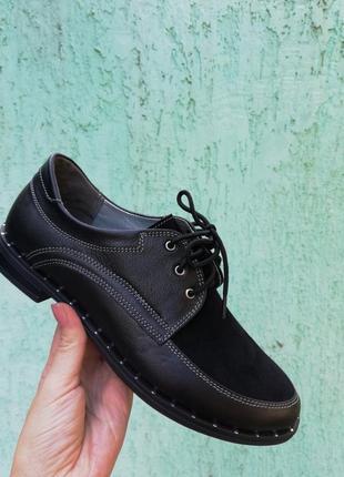Стильные кожаные замшевые черные туфли на шнуровке низкий каблук натуральная кожа