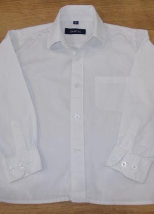Рубашка белая с длинным рукавом на 4-5 лет рост 104-110 см