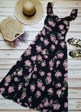 Розкошное шифоновое цветочное платье с пионами1 фото