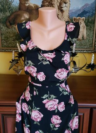 Розкошное шифоновое цветочное платье с пионами5 фото