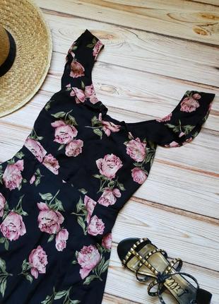 Розкошное шифоновое цветочное платье с пионами10 фото