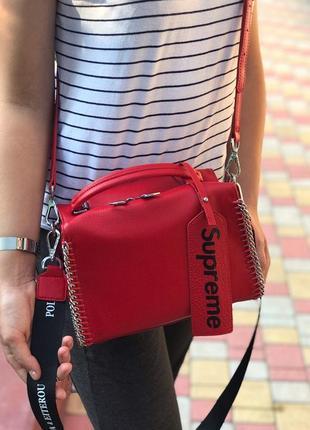 Женская кожаная сумка polina & eiterou чёрная красная жіноча жіноча шкіряна чорна  червона