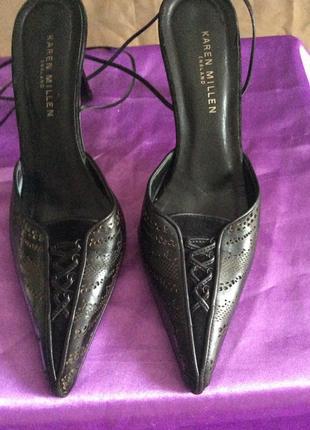 Кожаные нарядные туфли karen millen на удобном каблучке, р.36