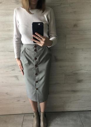 Актуальная юбка с принтом «гусиная лапка»