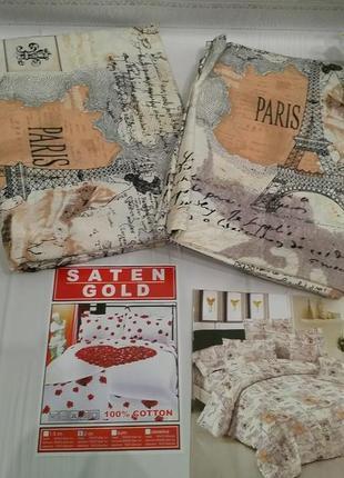 Акция!!! комплект постельного белья, двухспальный. 100% хлопок. saten gold. премиум