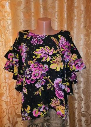 🌺🎀🌺женская легкая кофта, футболка, топ, блузка с воланами, рюшами 18 р. marks&spencer🔥🔥🔥