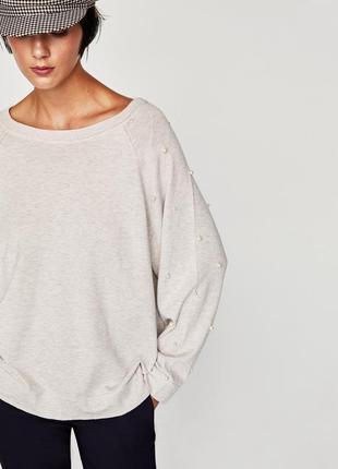 Oversize свитер zara усыпан бусинами
