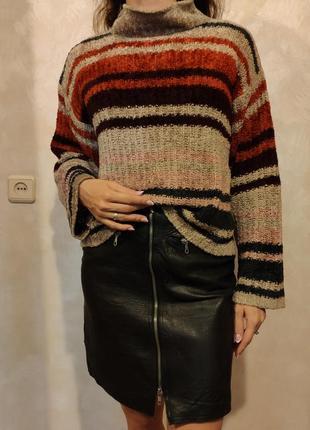 Плюшевый свитер плюшевая кофта джемпер в полоску оверсайз