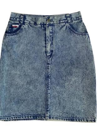 Винтажная джинсовая юбка из варёной джинсы длины миди