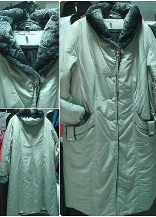 Длинное зимнее пальто с шалевым воротником и капюшоном, большой размер