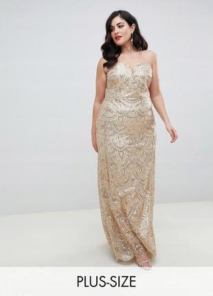 Tfnc london plus розкішна золота сукня в паєтках