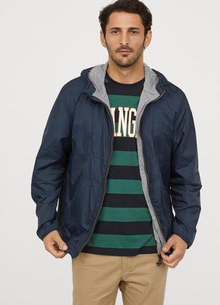 Куртка ветровка дождевик h&m синяя мужская xl новая
