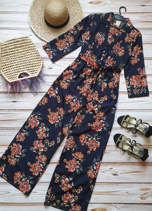 Шикарный цветочный ромпер комбез комбинезон с поясом в ретро винтажном стиле